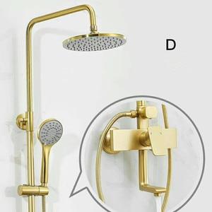 Image 5 - Luxury Gold brush shower set bathroom gold brush shower mixer luxury bathroom brush gold wall shower mixer bathtub hot cold tap