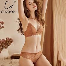 Cinoon 새로운 섹시한 브래지어 세트 여성의 푸시 업 레이스 속옷 팬티 얇은 통기성 브래지어 세트 자카드 섹시한 속옷 무료 배송