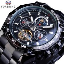 цена на Forsining Full Black Tourbillon Mechanical Watches Male Moonphase Date Stainless Steel Band Automatic Wristwatch Erkek Kol Saati