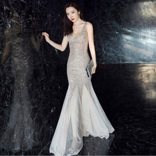 Prom-Dress Evening-Dresses Robe-De-Soiree Sequined Tulle Mermaid Long Plus-Size Sleeveless