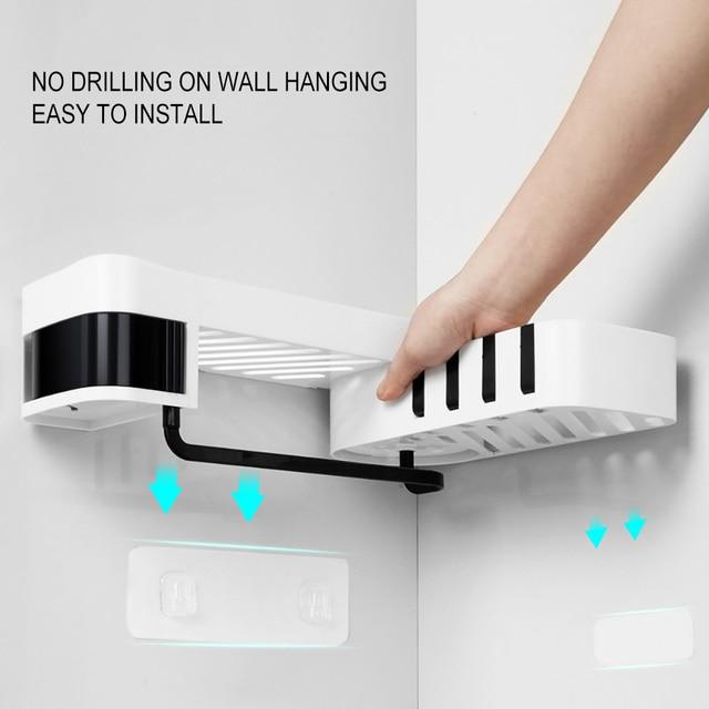 1 pcs  Corner Shower Shelf Bathroom Shampoo Shower Shelf Holder Kitchen Storage Rack Organizer Wall Mounted Type baño 4полка для 1