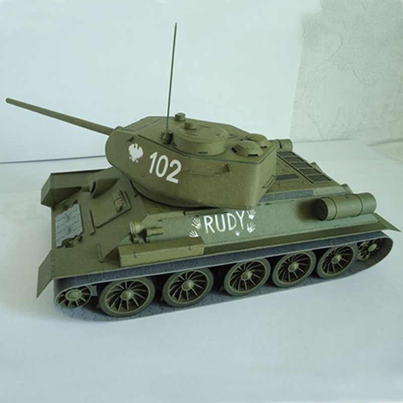 27*12cm Soviet Union T-34 Medium Tank DIY 3D Paper Card Model Building Sets Construction Toys Educational Toys Military Model