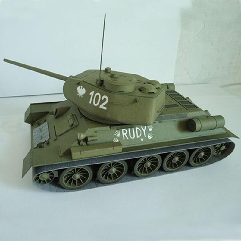 27*12cm Soviet Union T-34 Medium Tank DIY 3D Paper Card Model Building Sets Construction Toys Educational Toys Military Model