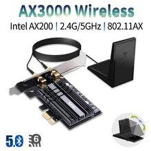 デスクトップ 2400 300mbps の pci e デュアルバンド無線 lan ワイヤレスアダプタ bluetooth 5.0 wi fi 6 カード AX200NGW 802。11AC/ax 磁気アンテナ