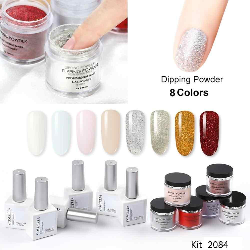 Poudre de trempage COSCELIA Kit complet d'ongle acrylique outils pour manucure 15 couleurs pour choisir paillettes mat Holo poussière avec socle