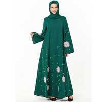Green Abaya Dubai Islamic Hijab Muslim Dress Kaftan Women Turkish Dresses Caftan Grote Maten Dames Kleding Baju Muslim Wanita