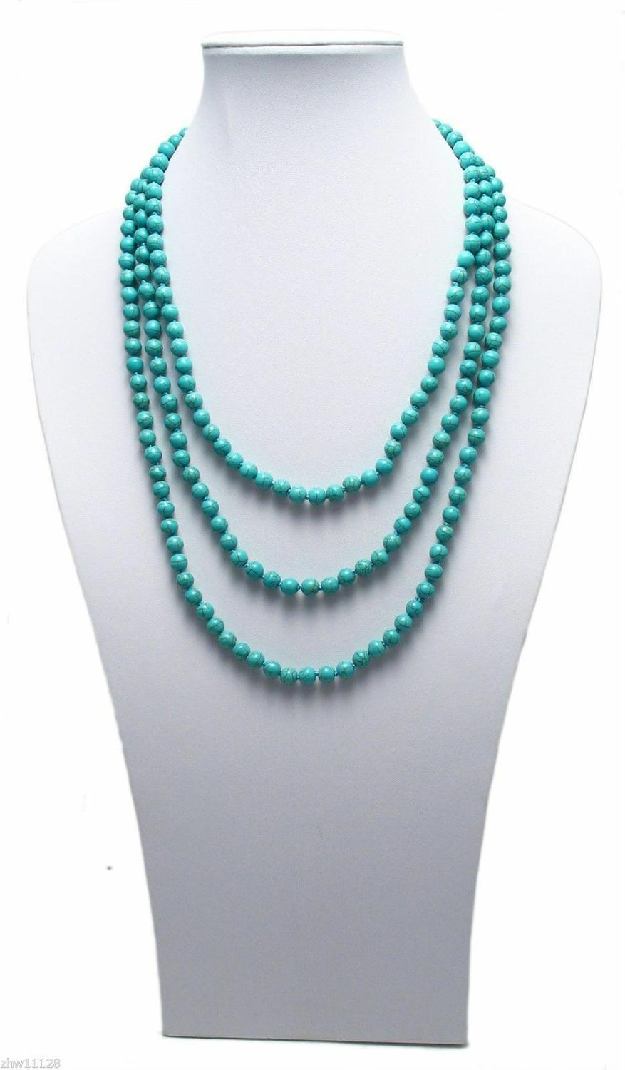 """Genuine Natural Turquoise 80/"""" Long 8mm Bead Stranded Necklace"""