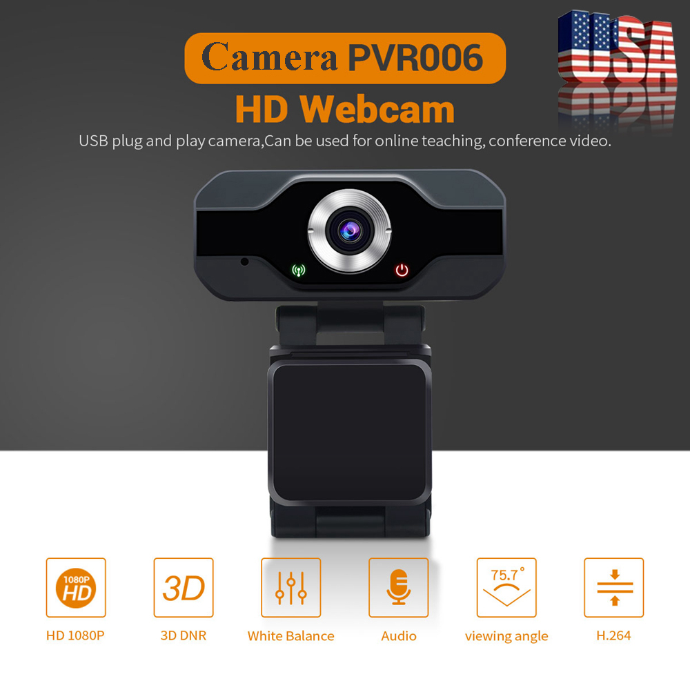 PVR006 Full HD 1080P USB Webcam Web Camera With Noise Cancellation Microphone Skype Streaming Live Camera For Computer PC Laptop