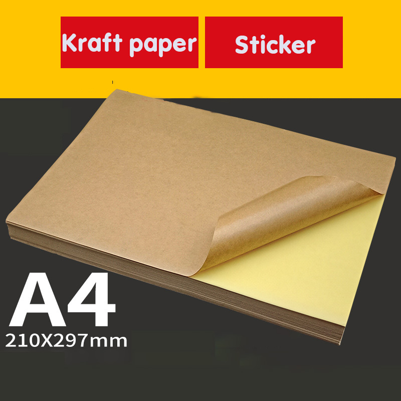A4 Kraft Sticker Writing Carton Color Inkjet Laser Printing Self-adhesive Adhesive Leather Label Sticker Yellow Paper 100 Pieces