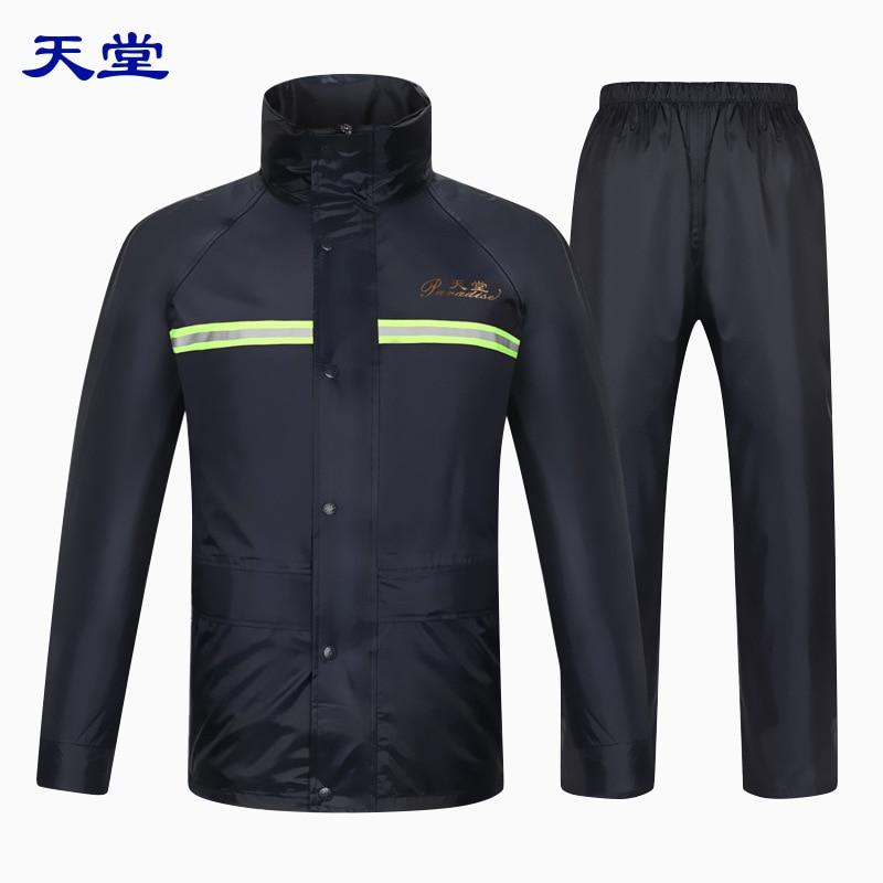 >Tiantang Raincoat And Rain <font><b>Pants</b></font> Set Oxford Cloth Raincoat Motorcycle Double Layer Adult Raincoat <font><b>Suit</b></font> Men And Women <font><b>Split</b></font> Type