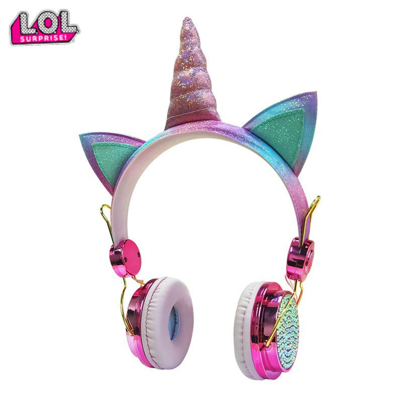 Cute Unicorn Wired Headphone With Microphone Girls Daugther Music Stereo Earphone Computer Mobile Phone Gamer Headset Lol Gift