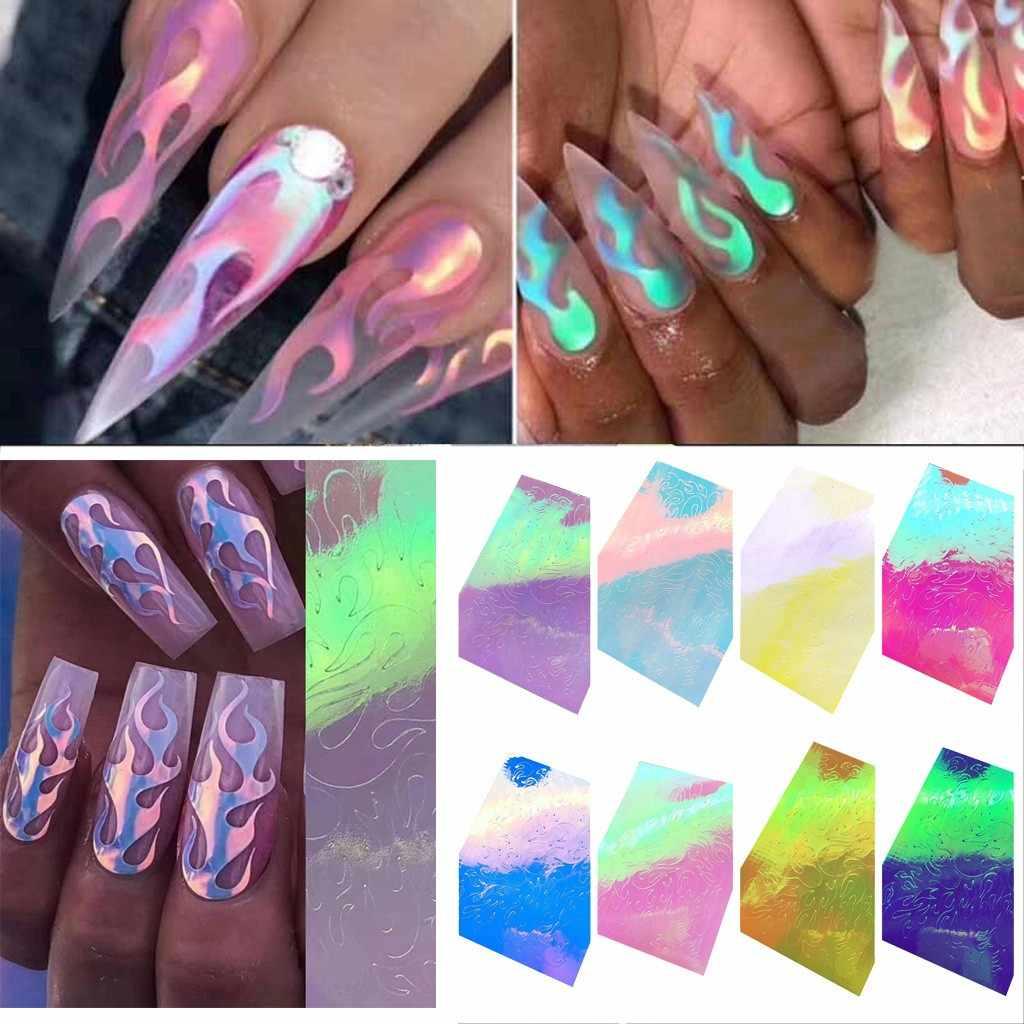 Outtop Fashion Hot Stamping Nail Art Stiker 8 Pcs Api Refleksi Pita Perekat Foil DIY Dekorasi Desain 2019 Baru Aug5