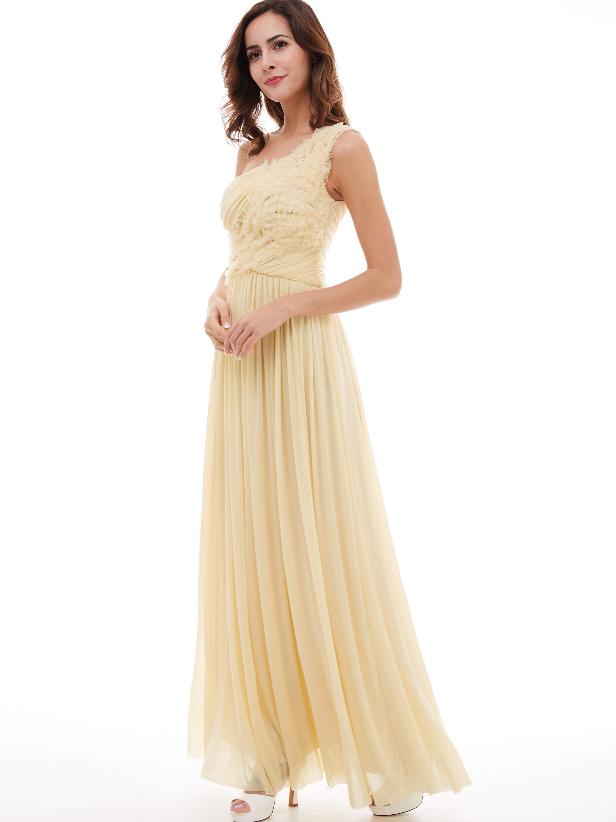 Dressv champagne long   evening     dress   cheap one shoulder draped wedding party formal   dress   a line   evening     dresses