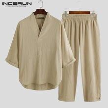 2021 hommes ensembles coton couleur unie 3/4 manches col en V chemises Vintage Streetwear pantalons décontractés Style chinois hommes costume INCERUN S-5XL