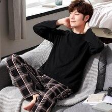 Yidanna, Хлопковая пижама, набор для мужчин, футболка с круглым вырезом размера плюс, нижнее белье, пижама с длинными рукавами, одежда для сна, зимняя Пижама для мужчин