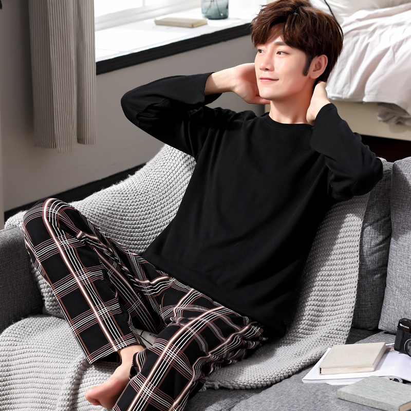 Yidanna Cotton Pijama Set For Men Tshirt O-neck Plus Size Underwear Long Sleeved Pajama Sleepwear Clothing Winter Nightwear Male