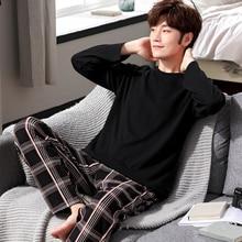 Yidanna cotton pijama set for men Tshirt O neck plus size underwear long sleeved pajama sleepwear clothing winter nightwear male