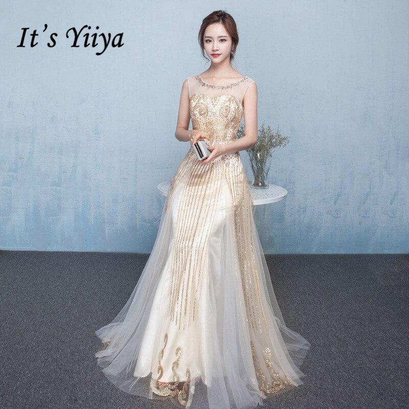 It's Yiiya Evening Dresses Elegant O-neck Long Formal Gowns 2020 Shiny Glitter Tulle Party Dress Sleeveless Robe De Soiree K169