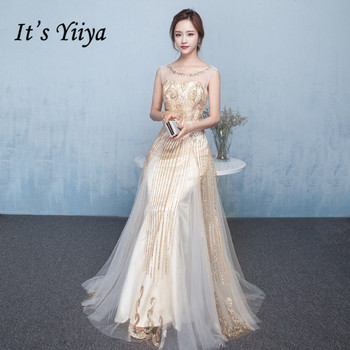 It's Yiiya Evening Dresses Elegant O-neck Long Formal Gowns 2020 Shiny Glitter Tulle Party Dress Sleeveless Robe De Soiree K169 it s yiiya evening dress elegant o neck robe de soiree sleeveless women party dresses plus size formal gowns c526