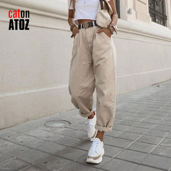 catonATOZ 2248 Khaki Female Cargo Pants High Waist Harem Loose Jeans Plus Size Trousers Woman Casual Streetwear Mom Jeans 1