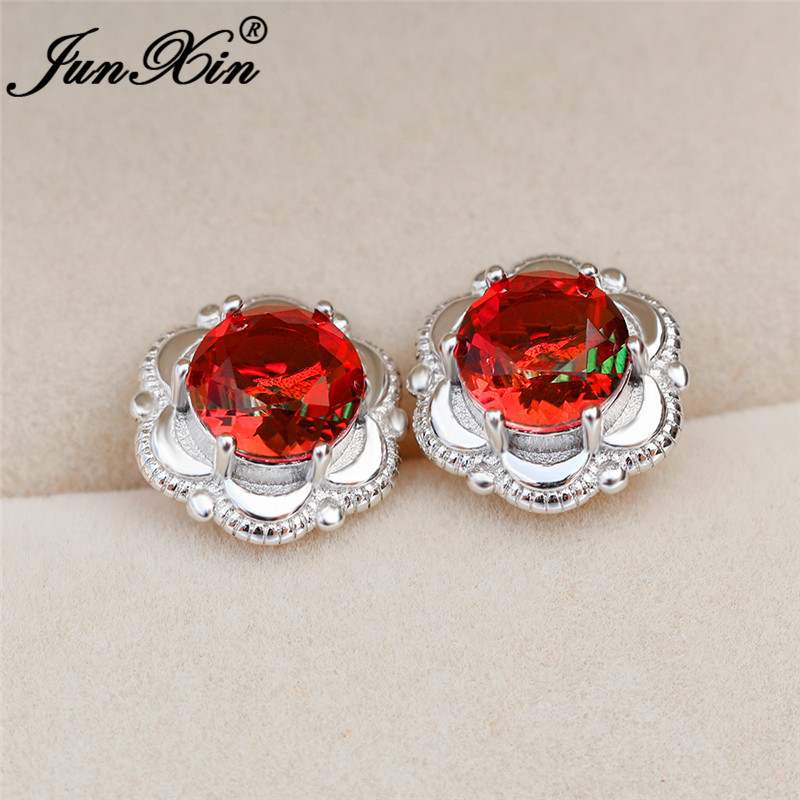 Luxury Charm Mystic Flower Earring White Gold Rose Gold Colorful Rainbow Fire Crystal Red Green Stone Wedding Earrings For Women