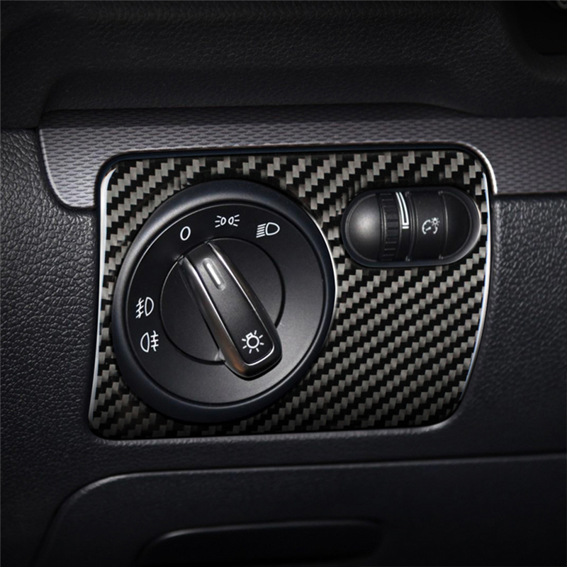 For VW Golf 6 Gti R MK6 2008-2012 Vehicle Interior Front Headlight Switch Cover Trim Decals Carbon Fiber Stickers Car Styling image