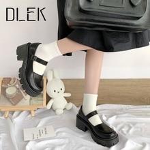 DLEK Women's Platform Loafers Shallow High Block Heels Buckle Strap Women Pumps Handmade  Retro Style Y2K Ladies Pump Loafer