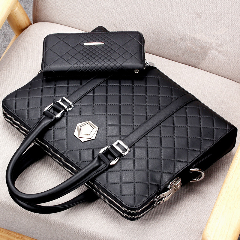 Men's Coded Lock Business Briefcase Anti-theft Double Layers Handbag Male Shoulder Cross Body Bag Laptop Bag Travel Bag