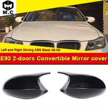 For BMW 3-Series E93 2-Door Convertible Rear Mirror Cover Caps Add on Style M3 Look 2-Pcs 1:1 Replacement ABS Gloss Black 06-09