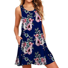 Women Summer Floral Print Casual Beach Cover Up Plain Pleated Tank Dress