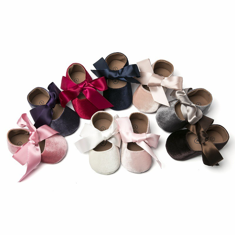 WEIXINBUY Baby Girl Shoes Riband Bow Lace Up PU Leather Princess Baby Shoes First Walkers Newborn Moccasins