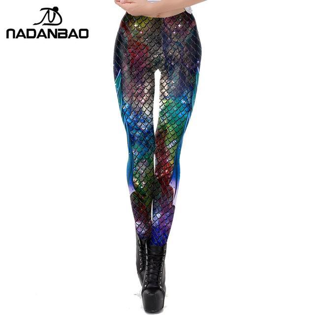 NADANBAO Galaxy בת ים חותלות נשים אימון כושר צועד צבעוני דגי סולמות מודפסים Leggins בתוספת גודל