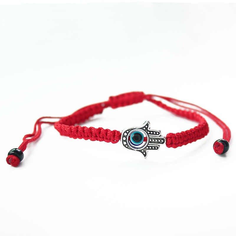 ISINYEE 邪眼の手チャームブレスレット女性のための赤の文字列ロープ糸ブレスレットスターデビッドジュエリー