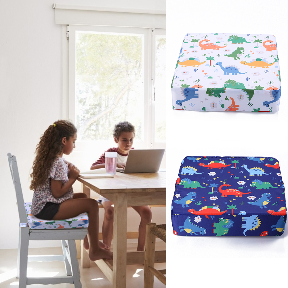 Kids  Childen White/Blue Booster Seats Cartoon Baby Chair Increasing Baby Furniture Cushion Removable Kids Dining Booster Pad