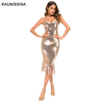KAUNISSINA Sexy Sequined Cocktail Dresses Straight Strap V Neck Sleeveless Tassel Long Party Dresses Robe Coktail Femme