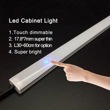 2個調光対応下キャビネットストリップ照明7020天然9ワット50センチメートルタッチスイッチ制御キッチンledバーDC12V剛性ストリップドロップシップ