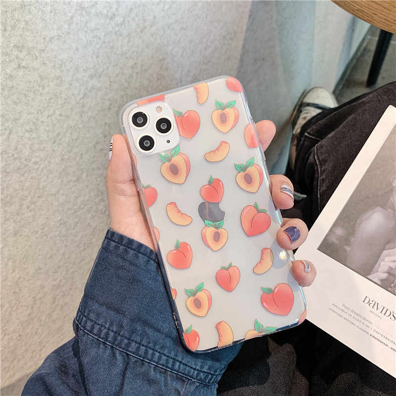 Leuke Cartoon Perzik Voor Samsung A5 A8 A30 A50 A80 A90 S7 S7 S8 S9 S10 Plus Note 8 9 10 Plus A9 2018 Transparant Soft Back Cover
