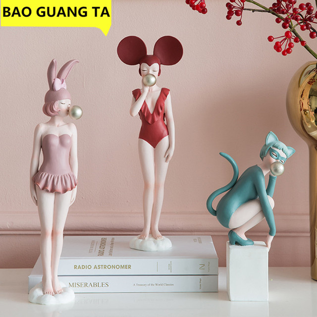 BAO GUANG TA Simple Modern Creative Young Girl Figure Art Sculpture Modern Girl Statue Resin Craft Home Decor Wedding Gift R4156 1
