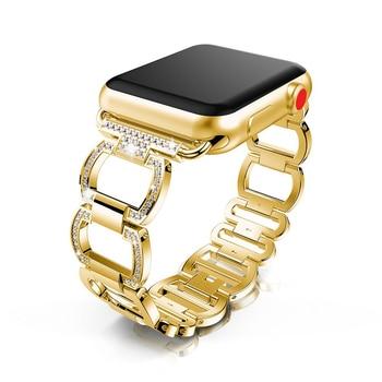 luxury link bracelet for Apple watch band 5/4/3/2/1 iwatch apple watch strap 44mm 40mm 42mm 38mm Diamond Metal bracelet luxury watch strap for apple watch 5 4 3 2 1 band 40mm 38mm 44mm 42mm iwatch band diamond stainless steel link bracelet