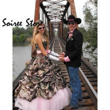 Vintage Camo vestidos sin tirantes para novia Country corsé para vestido de boda espalda fruncida hasta el suelo 1920s vestidos de novia gótica Civil