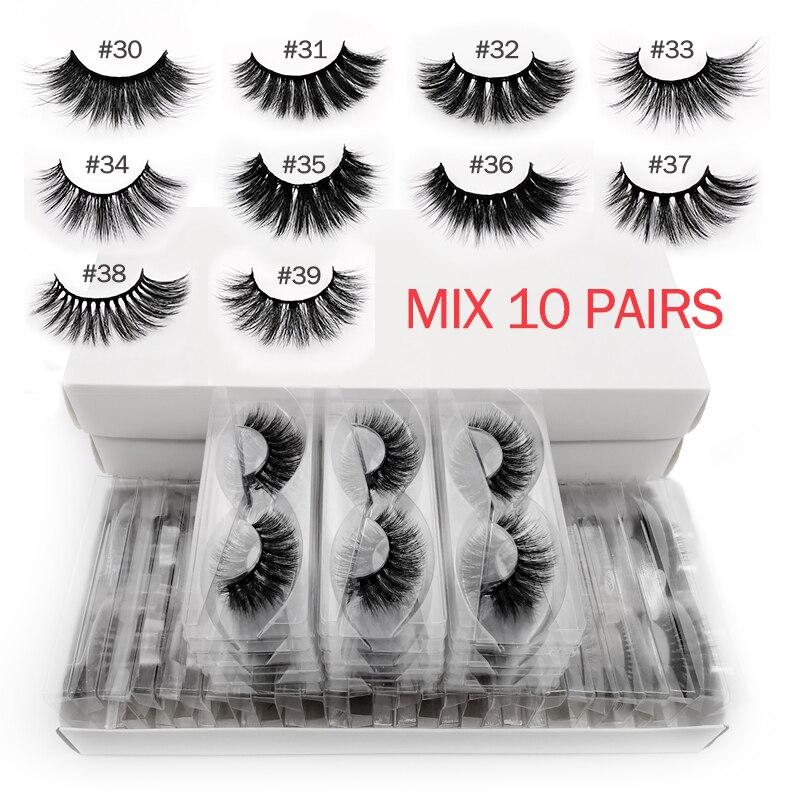 YSDO 10 pairs sztuczne rzęsy z norek hurtowych naturalne długie 3d rzęsy z futra norek luzem makijaż fałszywe rzęsy rozszerzenie faux cils