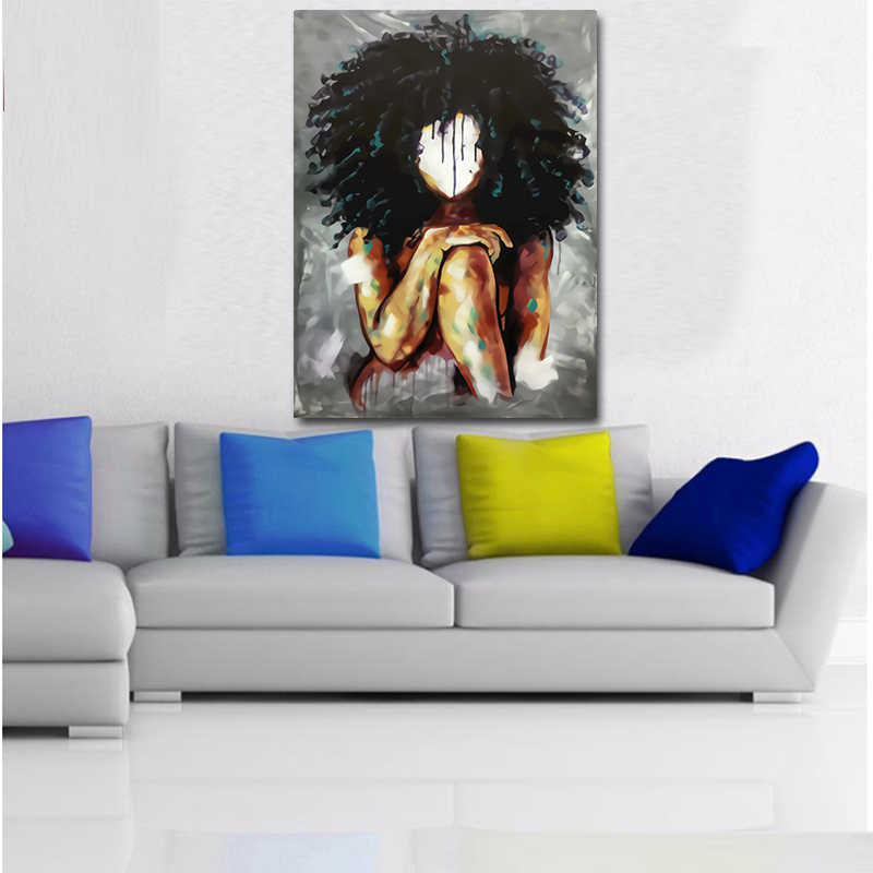 MUTU Black Girl Magic Wall Art Canvas Prints Abstract Art Girls Watercolor Canvas Paintings On The Wall Pictures For Home Decor
