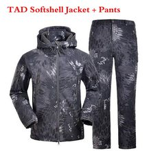 TAD Sharkskin Softshell Men Clothes Jacket and Pants Military Uniform Camping Hiking Fleece Windbreaker