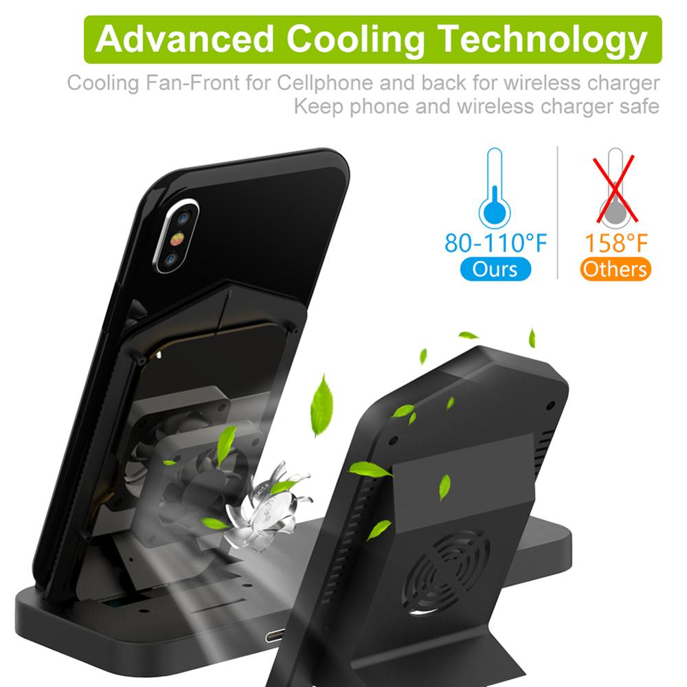 Image 5 - Goldfox 10W Fast Wireless Charger for iphone Samsung Qi wireless Charging stand for Airpods apple watch 4 3 2 1 charger holder-in Wireless Chargers from Cellphones & Telecommunications