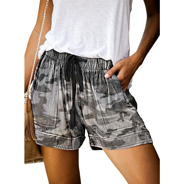 Casual Shorts Women New Summer High Waist Lace Up Pocket Loose Wide-leg Shorts Ladies Leopard Floral Shorts Plus Size 5XL Shorts 3