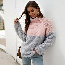 Ursohot Turtleneck Plush Hooded Autumn Winter Warm Patchwork Sweatshirts Women Pullovers Loose Hoodies Female Vintage