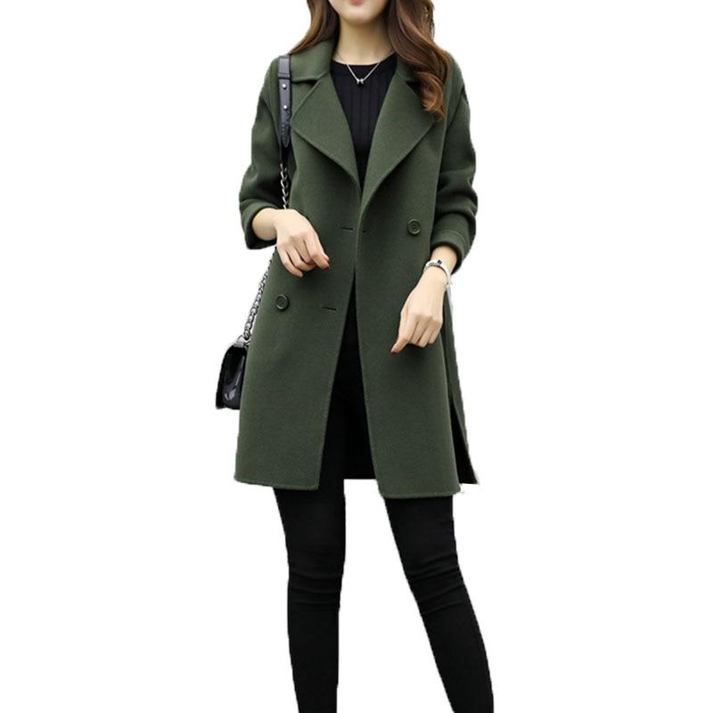New Autumn Winter Women Casual Woolen Coat Double-breasted Solid Warm Woolen Long Sleeve Slim Female Outwear Plus Size Jacket