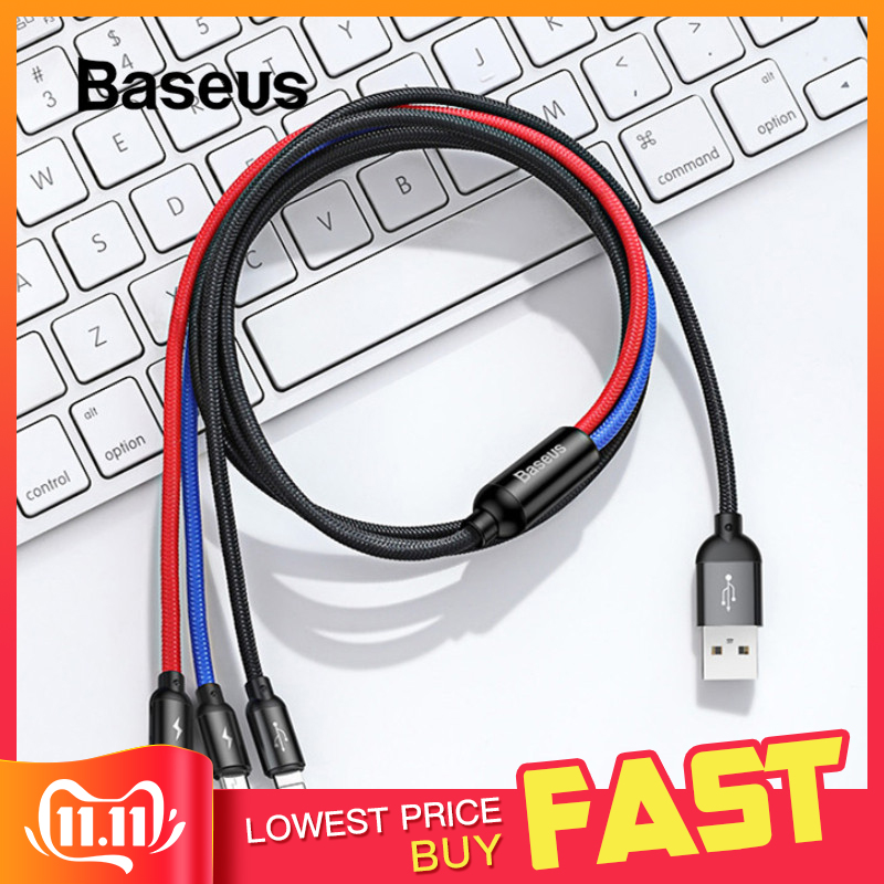 Baseus 3 in 1 USB Cable for Mobile Phone Micro USB Type C Charger Cable for iPhone Charging Cable Micro USB Charger Cord-in Mobile Phone Cables from Cellphones & Telecommunications on AliExpress - 11.11_Double 11_Singles' Day