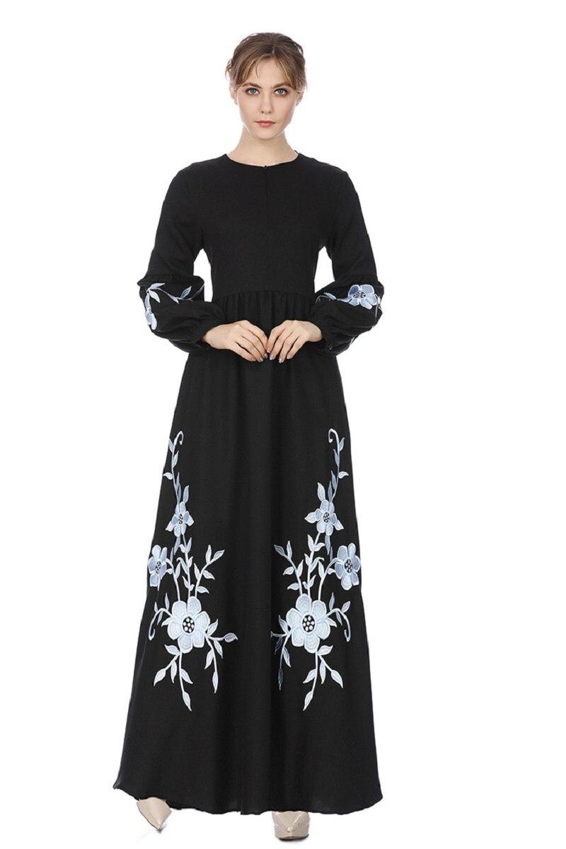 Islamic Classy Chiffon Kebaya Women Muslim Embroidered Dresses Evening Long Dress Caftan 1910