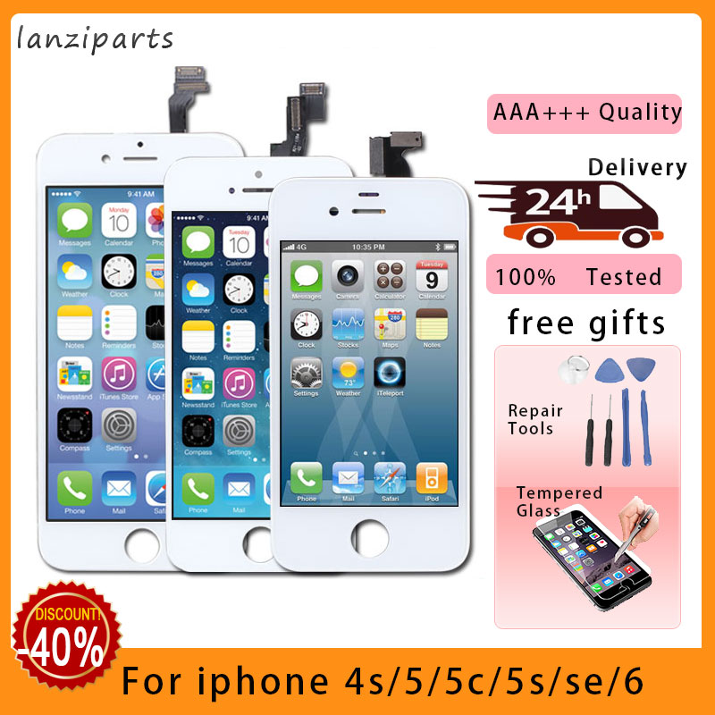 100% AAA Quality Tianma LCD Display With Touch Screen Digitizer For IPhone 5S 5 5C SE 6 Screen +Tempered Glass +tools